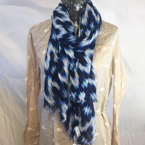 Calvin Klein ikat print scarf blue white New